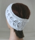 Bandeau - headband - serre tête - femme ou adolescente - en laine - coloris blanc - point de feuilles - mode printemps Été - tricoté main