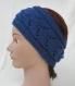 Bandeau - headband - serre tête - femme ou adolescente - en laine - coloris beu roi - motif fantaisie ajouré - mode automne hiver - tricoté main