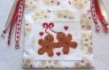 Sac pochon pour cadeau - les petits amoureux en pain d'épices - brodé à la main - en tissu coton - modèle unique - idée cadeau fêtes des mères