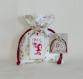 Sac pochon pour petit cadeau de noël - Étrennes - Étiquette de noël lutin et joyeux noël - brodée à la main - pochette sachet homme femme