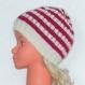 Bonnet style marin à rayures - bonnet Été hiver - enfant fille 4/5/6 ans - spécial plage bord de mer - laine fuchsia / Écru tricoté main