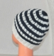 Bonnet marin à rayures - enfant fille taille 4 / 5 / 6 ans - chapeau spécial plage bord de mer - en laine bleu marine et Écru, tricoté main