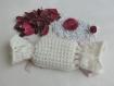 Étui pochon / porte savon fantaisie - tricoté main laine Écru - savon artisanal parfum patchouli - cadeau femme - fête mariage anniversaire