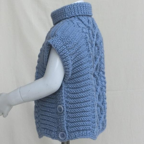 Poncho Pull Sans Manches Tricot Irlandais Enfant Bébé
