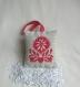 Coussinet fleur - cœur rouge - coussin parfumé lavande - brodé main  - décoration de porte/murale à suspendre - cadeau femme  fête des mères