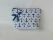 Pochette trousse de sac de maquillage de voyage de toilette style marin tissu gobelin ancre bleu marine Écru cadeau femme fête des mères