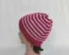 Bonnet rayé femme - style marin à rayures - laine rose fuchsia / Écru - accessoire spécial plage / mer - tricoté main