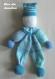 Doudou clown 42 cm - en laine - tricoté main - jouet enfant fille garçon - coloris rayé vert et bleu -cadeau anniversaire fête noël baptême