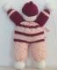 Doudou souple - poupée lutin - bébé enfant fille - en laine fantaisie coloris fuchsia et multicolore - tricoté main - cadeau noël naissance