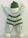 Doudou lutin - poupée jouet souple - cadeau bébé enfant fille garçon - tricoté main en laine vert/blanc - anniversaire, baptême, naissance