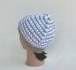 Bonnet femme style marin rayé - laine rayures beige lin/blanc -chapeau Été vacance /plage / bord de mer -cadeau tricoté main fête des mères