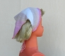 Bandana - enfant bébé fille 12 mois, 24 mois - bandeau, foulard de tête, fichu mouchoir, tricoté main, en coton bleu turquoise, accessoire cheveux