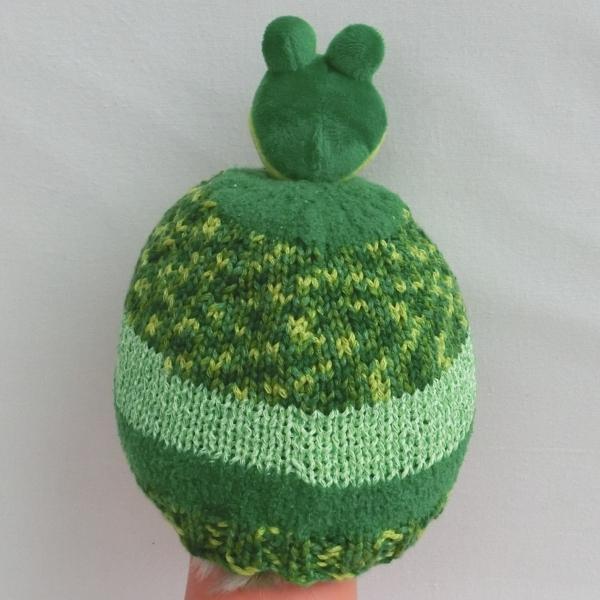 98918609f3bc Bonnet peluche grenouille, taille 2   3 ans, en laine vert   jaune , enfant  ou bébé, fille ou garçon, tricoté main, bonnet automne hiver