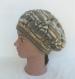 Béret / bonnet femme ou adolescente, en laine fantaisie gris/marron, tricoté main, accessoire de mode automne hiver