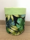 Panière tissu ronde extérieur motifs feuilles exotiques, intérieurt issu coton anis