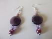 Boucles d'oreille perles de verre violet