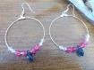 Boucles d'oreilles créole, perles de cristal et goutte