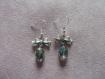 Boucles d'oreilles pendantes irisées et flot