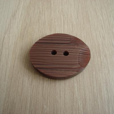 Gros bouton ovale deux ton marron   12-70