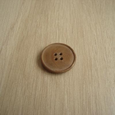 Trois boutons bois rond vintage avec rebord   6-14