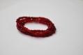 Bracelet perles rouges quatre tours