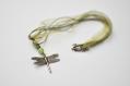Collier organza vert et breloque libellule