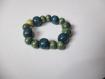 Bracelet perle en bois bleu et vert élastique