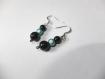 Boucles d'oreilles avec perles magique bleu et perle noir