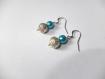Boucles d'oreilles perle filigrane argenté et perle nacré bleu