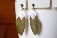 Boucles d'oreilles clips plume vert kaki, feuille filigrane  argentée, fait main, cadeau, anniversaire, noël