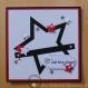 Carte anniversaire étoiles noires blanches et rouges