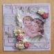 Carte fête des mères shabby image ancienne mère enfant dentelle tulle fleurs
