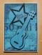 Carte anniversaire guitare noire et bleue message
