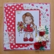 Carte fête des mères - fête des grand-mères rouge et blanche tampon magnolia dentelle napperon fleurs