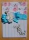 Carte félicitations mariage rose et bleue