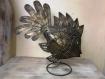 Sculpture métal poisson patinée main sur socle 35x40 cm