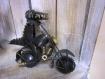 Sculpture métal moto patinée main 15x18 cm