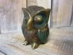 Statuette hibou en laiton patinée main 7x6 cm