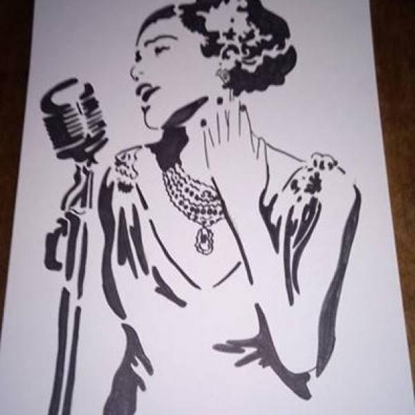 Dessin Noir Et Blanc Femme Chanteuse Par Eliecreation