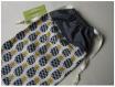 Pochon pour tongs,espadrilles,mules,chaussures / pochette / housse de protection - crochet,accroche - ananas,exotique,fruit - 35 x 22 cm - jaune,moutarde,noir,gris,blanc