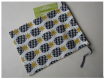 Pochon / pochette / housse de protection - crochet,accroche - ananas,fruit,exotique,scandinave - 21.5 x 16 cm - jaune,moutarde,noir,gris,blanc