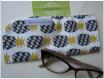 Etui lunettes / pochette / housse de protection – ananas,fruit,exotique – 20 x 9 cm - noir,gris,jaune,moutarde,blanc