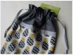 Pochon / pochette / housse de protection – doublé – ananas,fruit,exotique – 25 x 20 cm – noir,gris,jaune,moutarde,blanc