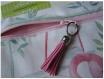 Trousse / pochette - extra plate - flamant rose,oiseau,animal – pompon cuir,porte clef – 23 x 20 cm - blanc,rose,fuchsia,vert – vacance,plage,ecole,rentrée,loisirs