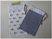 Duo - pochon / pochette / housse de protection - marin,mer,encre,rayure - bleu,marine,rouge,blanc - lot de 2