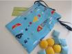 Jeu morpion / tic tac toe + pochon / pochette - 19.5 x 14.5 cm - mer,pêche,poisson,flotteur,bateau origami  - tissus, satin - bleu et multi - 11 pièces