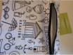 Trousse / pochette - extra plate - anse d'accroche,d'attache - 23.5 x 20.5 cm - plage,vacances,shopping,nounou,doudou,École,bibliothÈque  - mer,encre,phare,bateau - blanc,noir