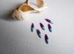 6 gouttes émaillées 15x4 mm turquoise clair et violet 2 faces