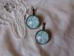 Boucles d'oreilles dormeuses en metal couleur bronze image sous dome en verre bombe 18 mm collection fleurs vintage