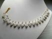 Parure :collier,bracelet, boucles d'oreille couleur blanche avec perles, parure dentelle frivolite, parure dentelle blanche